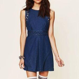 Free People Blue Lattice Cutout Mini Dress